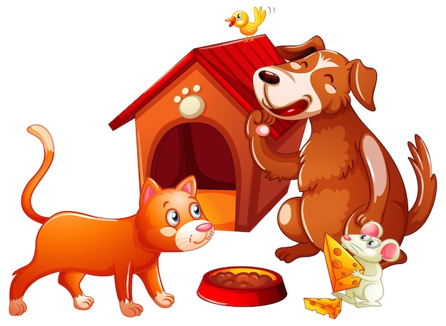 Doghouse with pet animal cartoon character