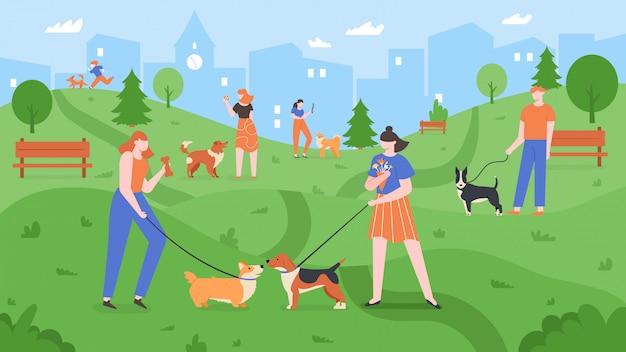 公園で犬。ペットは犬の公園で遊んで、人々は歩いて、屋外の庭、都市の犬公園の風景のカラフルなイラストで犬と遊ぶ。ペットの飼い主が一緒に散歩する子犬を訓練する