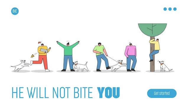 犬が吠えたり噛んだりする人々を攻撃します。コントロールまたはペットの犬のハンドラーのランディングページテンプレート