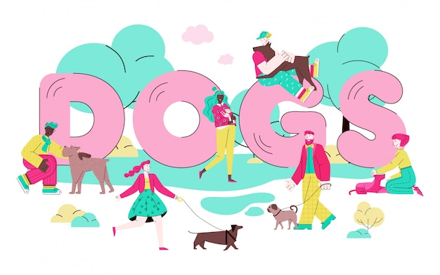 Dogs banner with cartoon pet owners walking and hugging their pets in park
