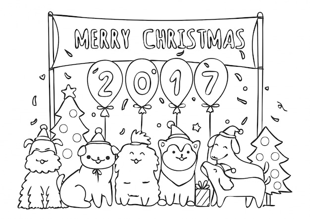 Dogs in christmas party