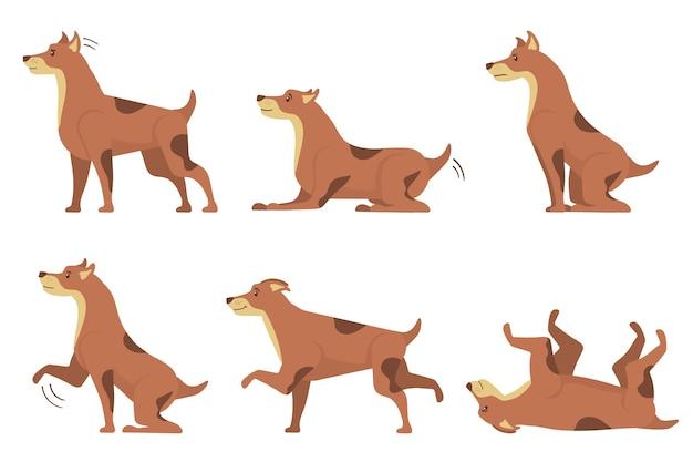 개 컬렉션 흰색 배경에 고립입니다. 개는 아이콘과 운동 행동으로 흙을 파고, 점프하고, 수면을 취하고 짖습니다. 만화는 플랫 스타일로 문자를 설정합니다. 삽화.