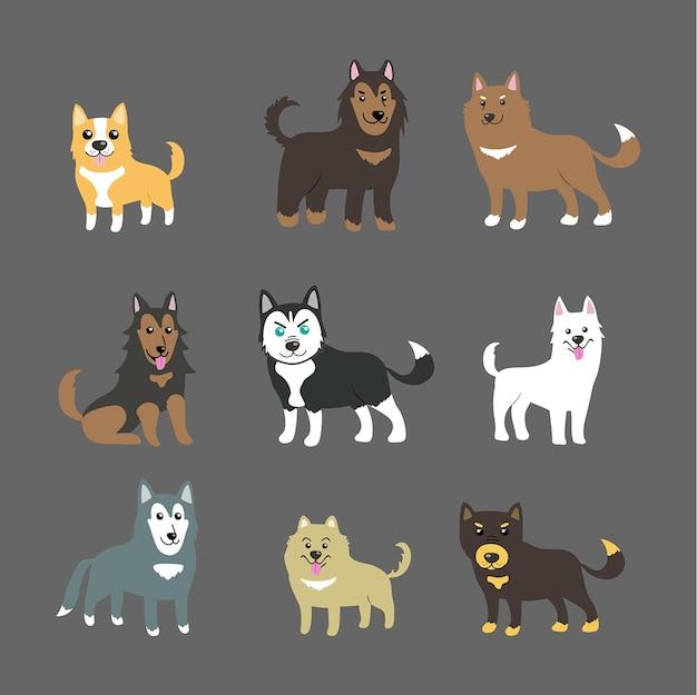 Собака милый вектор набор домашних животных