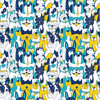 Dogs different breeds seamless pattern