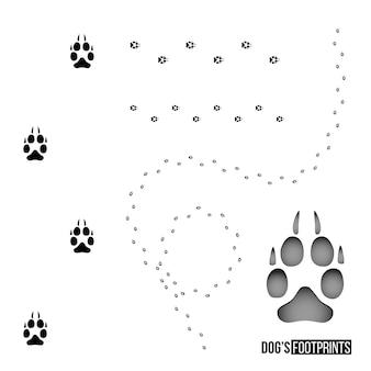 개 발자국 세트 흰색 배경 벡터 디자인 요소에 고립