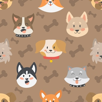 Dogs heads seamless pattern background vector isolated.