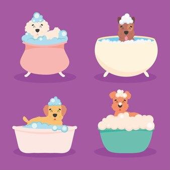 Собаки в ванной набор иконок