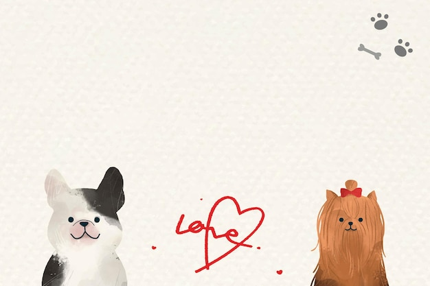 Dogs in love background  with cute illustrations