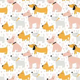Dogs pattern. cute seamless print. background for printing on fabric, digital paper. universal design for decorating children's photo albums, theme parties. vector illustration, hand-drawn