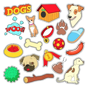 Dogs pets doodle for scrapbook, stickers, patches, badges with puppy.