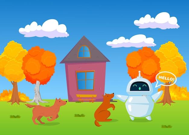 Собаки играют с дружелюбным роботом на открытом воздухе осенью