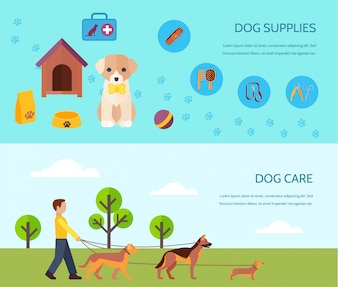 Dogs  puppies breeds accessories supply and care 2 flat banners composition poster