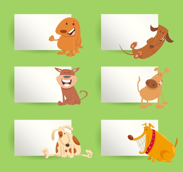 Dogs and puppies cartoon cards design set