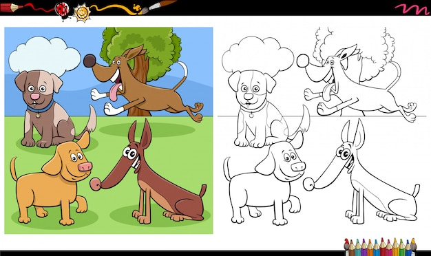 Dogs and puppies characters group coloring book page