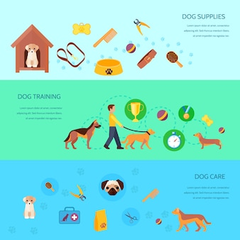 Dogs puppies training feeding care products and supplies 3 flat  horizontal banners set abstract isolated vector illustration
