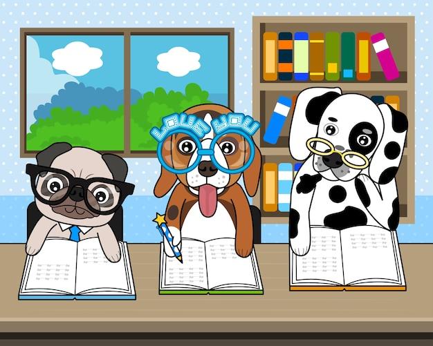 犬は本棚付きの部屋で本を読む