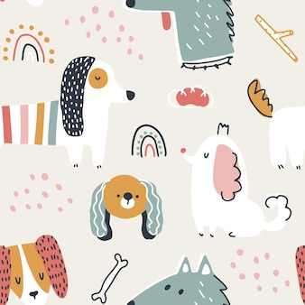 犬のシームレスなパターンシンプルな保育園の漫画スタイルのかわいい動物