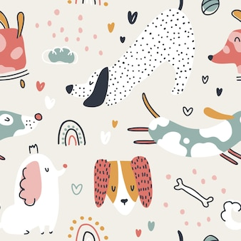 Dogs seamless pattern cute animals in simple naive handdrawn scandinavian trendy cartoon style