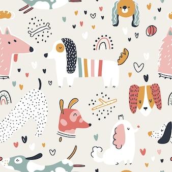 Dogs seamless pattern cute animals in simple nursery cartoon style