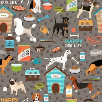 Dogs seamless pattern with equipment