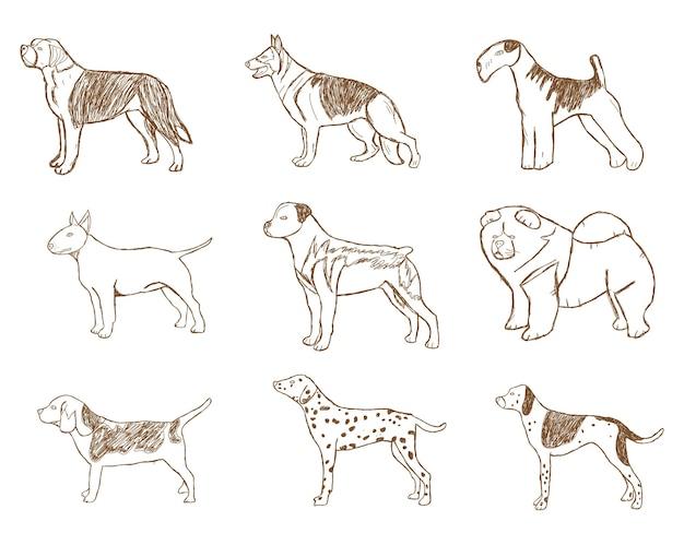 Набор собак. векторные иллюстрации. эскиз шаржа изолированный на белой предпосылке.