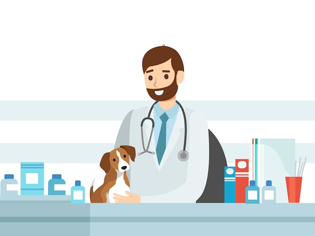 Dogs veterinary, flat veterinarians staff