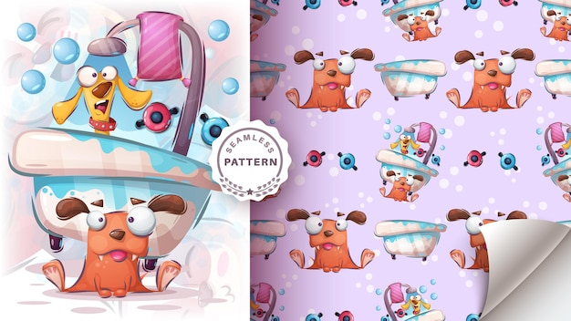 Dogs wash in the bath - seamless pattern