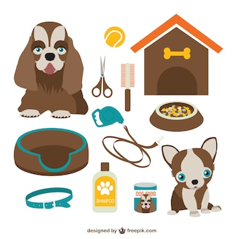Dogs with doghouse, shampoo and belt