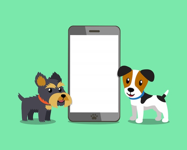 Dogs with smartphone