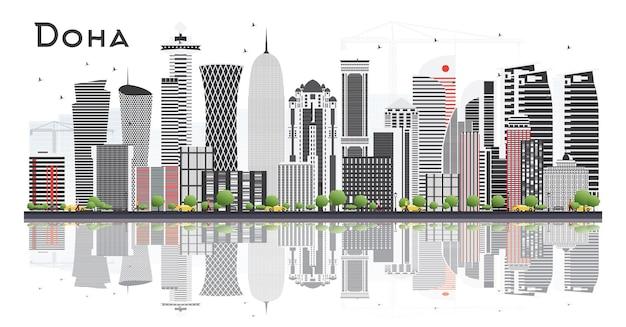 Горизонт дохи катар с серыми зданиями, изолированные на белом фоне. векторные иллюстрации. деловые поездки и концепция туризма с современной архитектурой. городской пейзаж дохи с достопримечательностями.