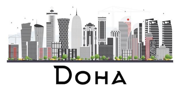 Горизонт дохи катар с серыми зданиями, изолированные на белом фоне. векторные иллюстрации. деловые поездки и концепция туризма.