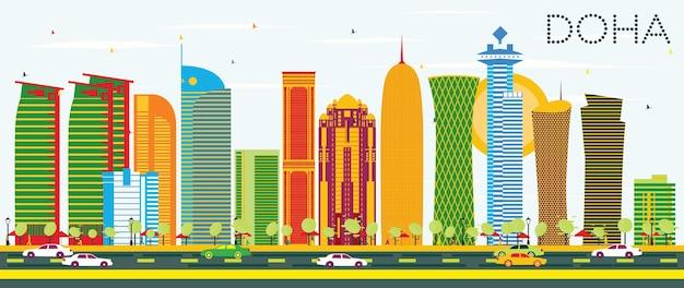 Горизонт дохи с цветными зданиями и голубым небом. векторные иллюстрации. деловые поездки и концепция туризма. изображение для презентационного баннера и веб-сайта.