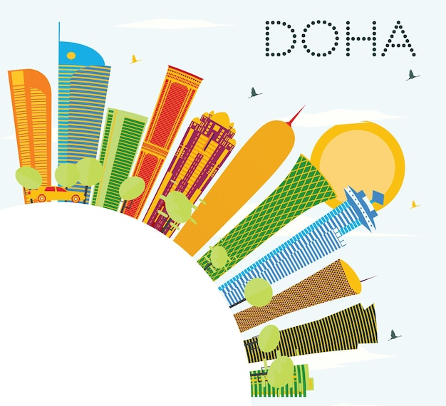 Горизонт дохи с цветными зданиями, голубым небом и копией пространства. векторные иллюстрации. деловые поездки и концепция туризма. изображение для презентационного баннера и веб-сайта.