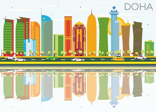 Горизонт дохи с цветными зданиями, голубым небом и отражениями. векторные иллюстрации. деловые поездки и концепция туризма. изображение для презентационного баннера и веб-сайта.