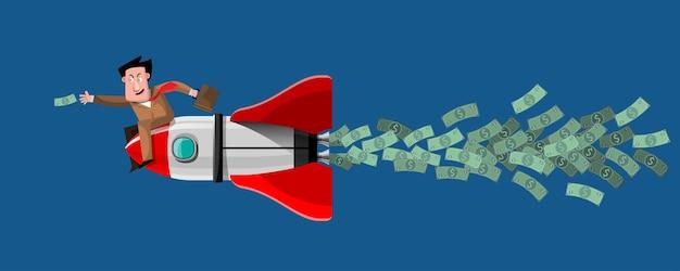 Ведение бизнеса с использованием хороших идей это все равно что ракета, четко и быстро нацеленная на цель. иллюстрация в 3d стиле