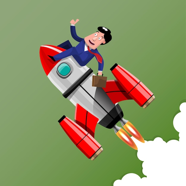 Doing business with good ideas it's like having a rocket aimed at the target clearly and quickly. illustration in 3d style