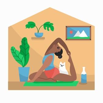 Fare yoga con il gatto al chiuso concetto di quarantena