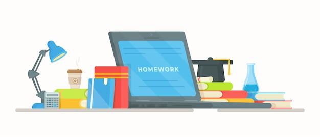 Делаю домашнее задание. иллюстрация онлайн-обучения. компьютерные уроки. школа, класс, институт, экзамен.