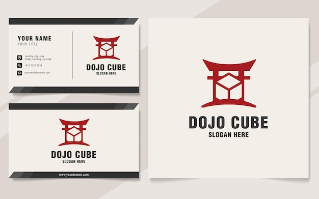 Dojo cube logo template on monogram style