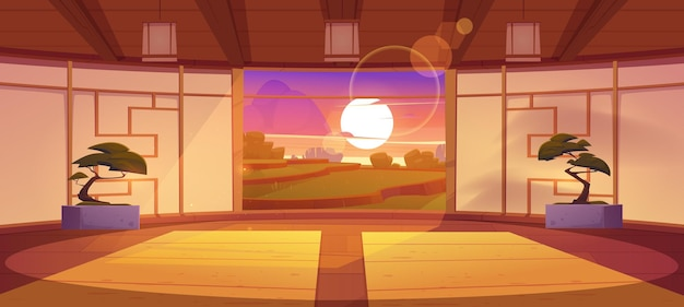 Dojo traditional japanese room for karate and meditation