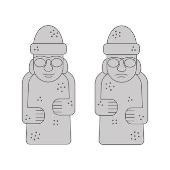 돌하르방 또는 톨하루방 제주도 한국의 유명한 바위 조각상