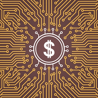 Dolar sign over computer chip moterboard backgroung network data center system concept banner