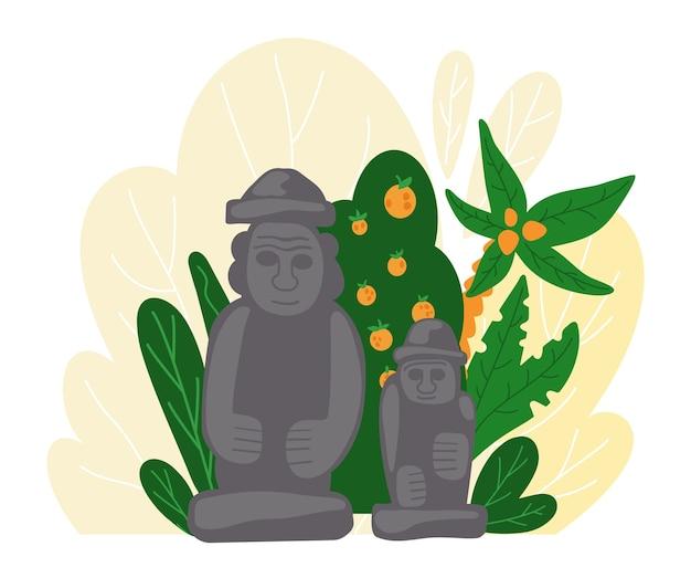 Статуя долхрубанг. традиционный символ острова чеджу в южной корее