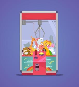 Doll machine flat cartoon illustration