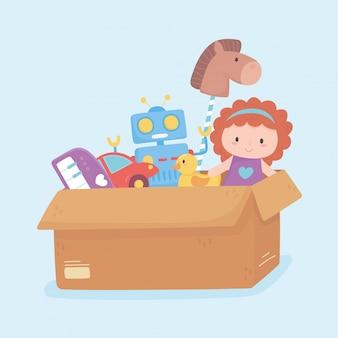 小さな子供が段ボール箱で漫画を遊ぶための人形ロボット車のアヒルのおもちゃオブジェクト