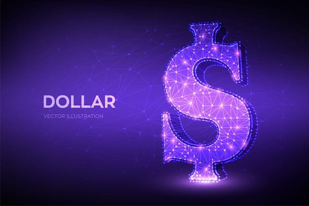 ドル。 3d低ポリ抽象的なメッシュラインとポイント米ドル記号。米ドル通貨のアイコン。アメリカの通貨。