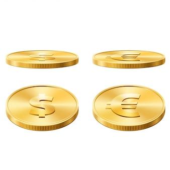 Доллар и евро монеты векторная иллюстрация