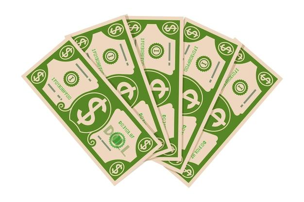 달러 지폐 팬입니다. 돈 지폐의 더미입니다. 현금 아이콘입니다.