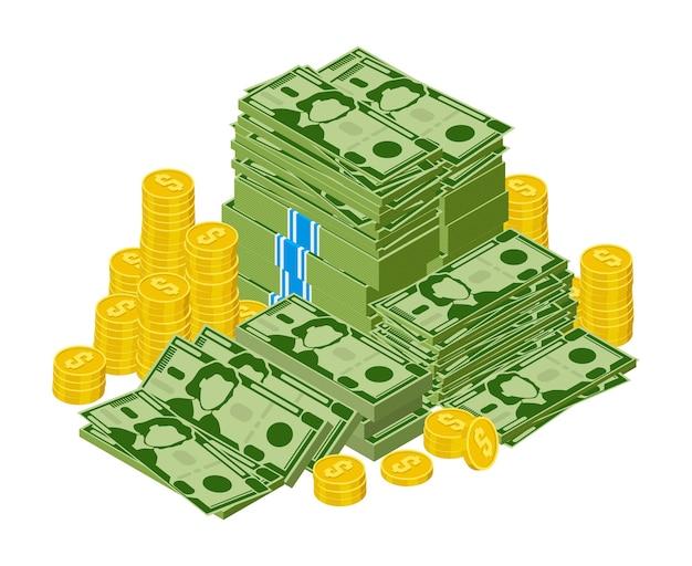 Куча долларовых купюр, изолированные на белом фоне