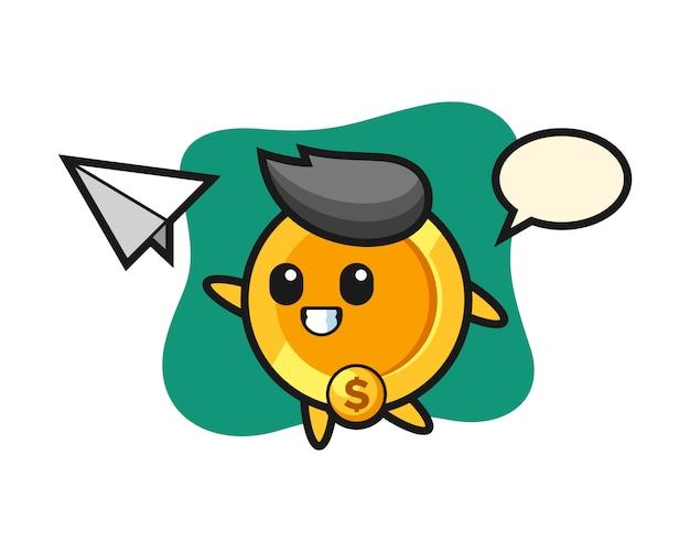 紙飛行機を投げるドル硬貨の漫画のキャラクター
